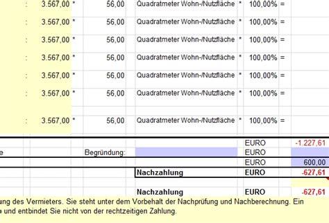 Muster Formular Nebenkostenabrechnung betriebskosten abrechnung mit excel freeware de
