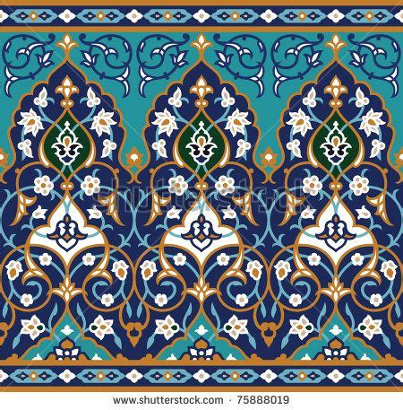 islamic pattern prints arabic floral seamless border traditional islamic design