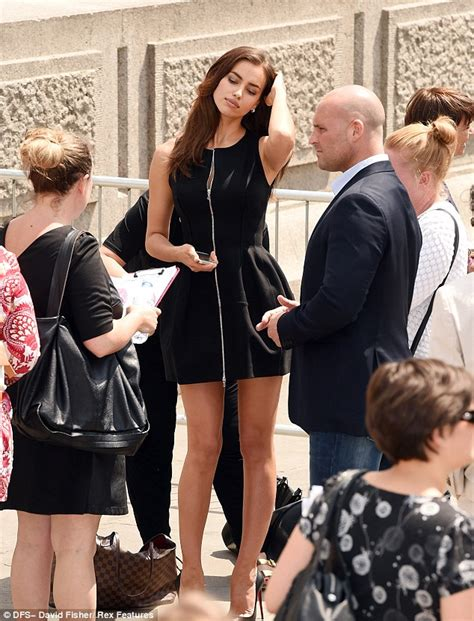House Pronunciation irina shayk poses in london with the rock to promote