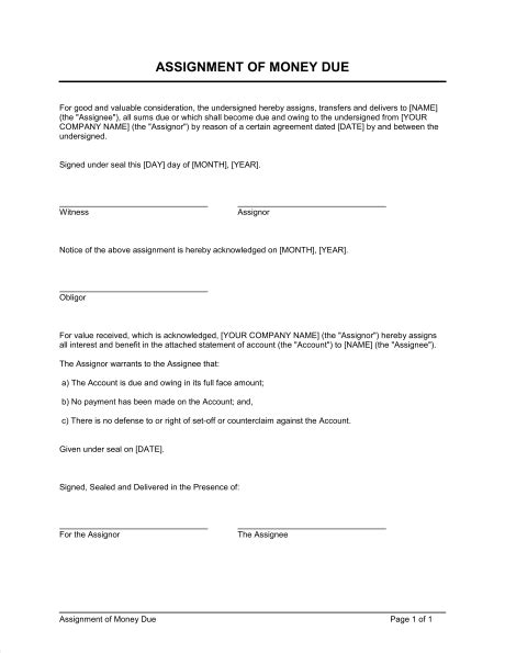Letter Of Agreement For Money Owed Assignment Of Money Due Template Sle Form Biztree
