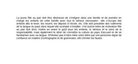 Lettre De Recommandation Fille Au Pair Lettre De Motivation Fille Au Pair