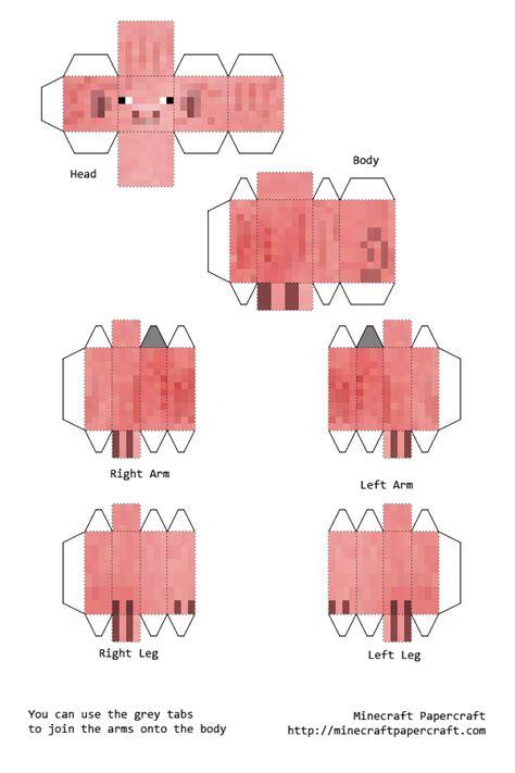 Papercraft Minecraft Pig - papercraft pigman