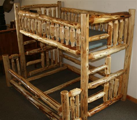 Log Bunk Beds by Cedar Log Bunkbed Gnomes Hollow Wood
