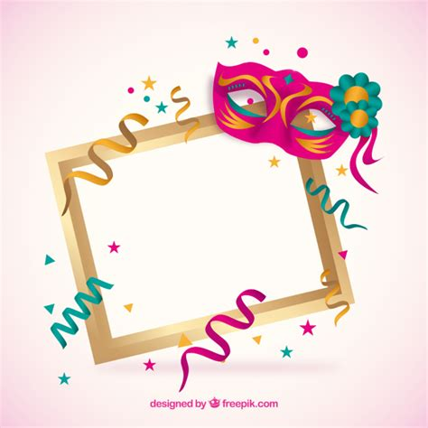 clipart carnevale gratis frame with carnival mask vector free