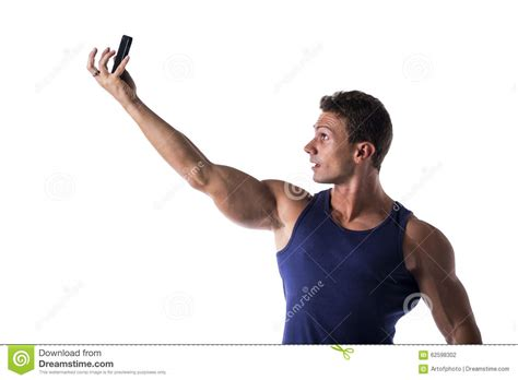 The Best Pose Takes Time by Handsome Muscular Taking Selfie With Stock Photo