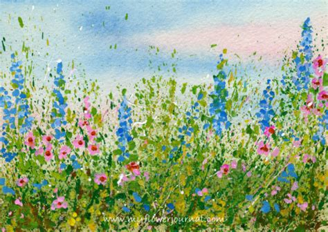 Make Your Own Watercolor Paper - create a splattered paint flower garden my flower journal