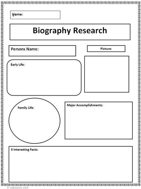 template for writing a biography biography research graphic organizer ela graphic