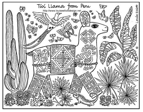 Peru Llama Coloring Pages Pinterest Around The Peru Coloring Pages
