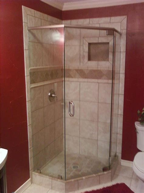bathroom corner tiles corner tile shower with deco band and shoo shelf cubby
