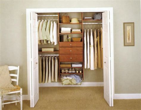 Brown Closet by Apartment Closet Ideas White Doors Brown Wooden Cabinets Brown Carpet Floor White Chair