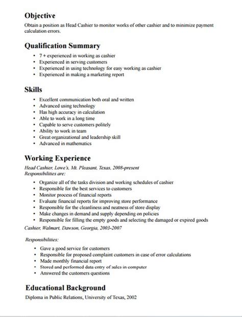 Resume Summary Exle Cashier 2016 Description For Cashier Recentresumes