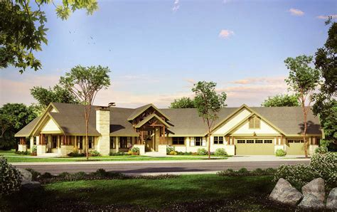sprawling angled ranch house plan 72841da