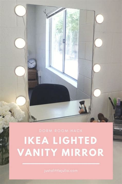 mirror with lights ikea ikea lighted mirror vanity dorm room hack just a little