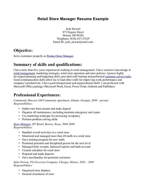 retail store manager resume exle retail store manager