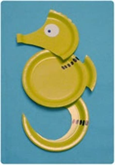 Seahorse Paper Plate Craft - paper plate sea animal crafts crafts and worksheets for