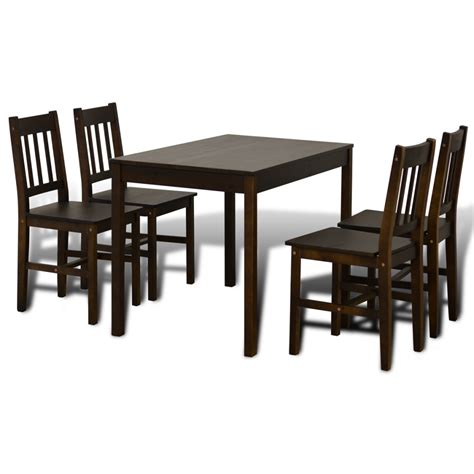 vidaxl co uk wooden dining table with 4 chairs brown