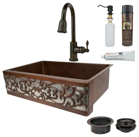 Hammered Nickel Kitchen Sink 33 Quot Hammered Copper Single Basin Sink With Scroll Apron Front Nickel Mediterranean Kitchen
