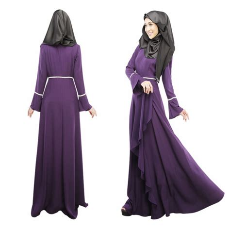 Maxi Dress Muslim Dress Wanita Marissa Maxi sleeve abaya jilbab kaftan solid maxi dress islamic wear ebay
