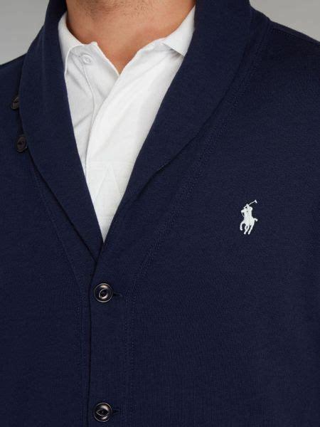 Cardigan Rajut Bayi Polos Navy 4 polo ralph shawl collar cardigan in blue for navy lyst