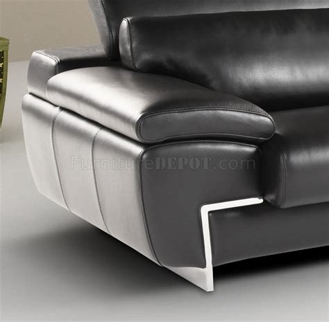 sofa headrest black full leather modern sectional sofa w adjustable headrest