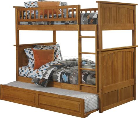 Bunk Beds With Trundle Bed Nantucket Bunk Bed Raised Panel Trundle Caramel Latte Bunk Beds Ab59137 3