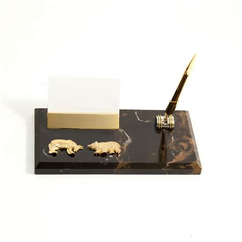 personalized bull business card holder pen desk