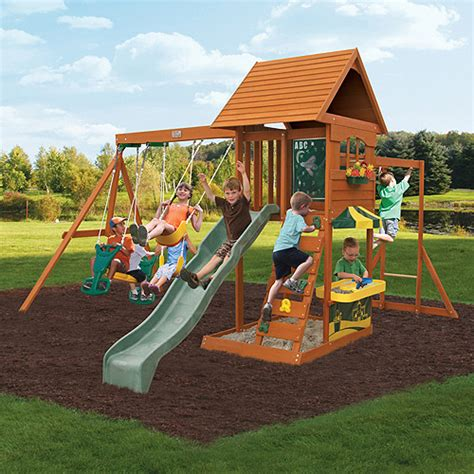 backyard wooden swing set cedar summit sandy cove wooden swing set walmart com
