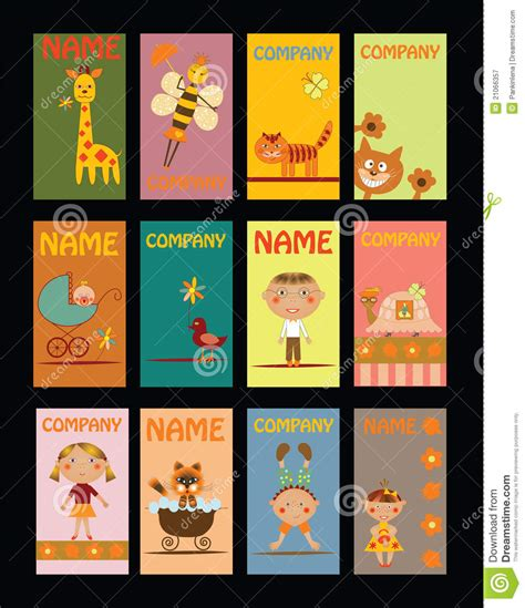 Gift Card For - set of business cards for kindergarten royalty free stock photography image 21066357