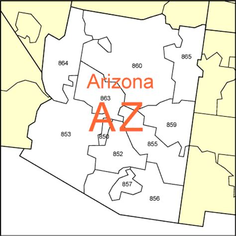 area code arizona usa usa states zipcodes and county map boundaries free to