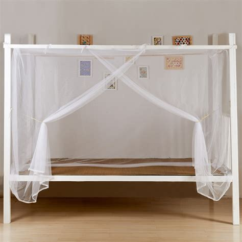 queen corner bed white four corner post bed canopy frame mosquito net twin