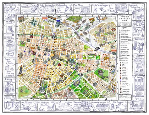 map city of tourist illustrated map of sofia city vidiani maps