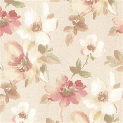 Red Kitchen Lights - lynette peach watercolour floral wallpaper traditional wallpaper by brewster home fashions