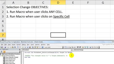 how to select sheets excel worksheet events 1 macro when you change cells or