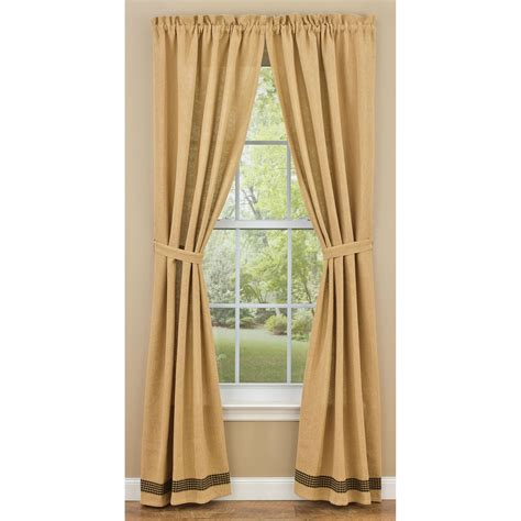 burlap curtain panels burlap and check unlined curtain panels by park designs 63