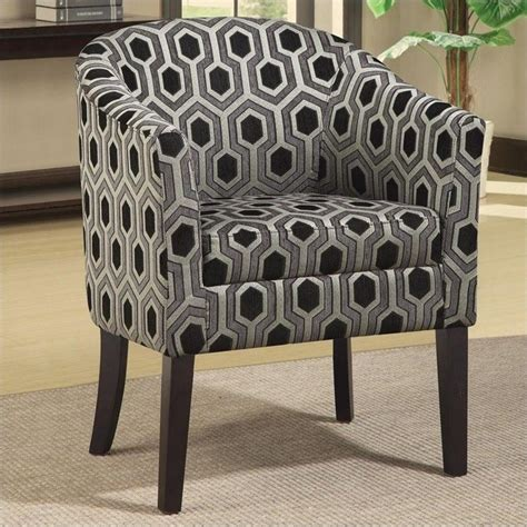Patterned Club Chair Design Ideas Coaster Club Barrel Chair In Chenille Geometric Print 900435