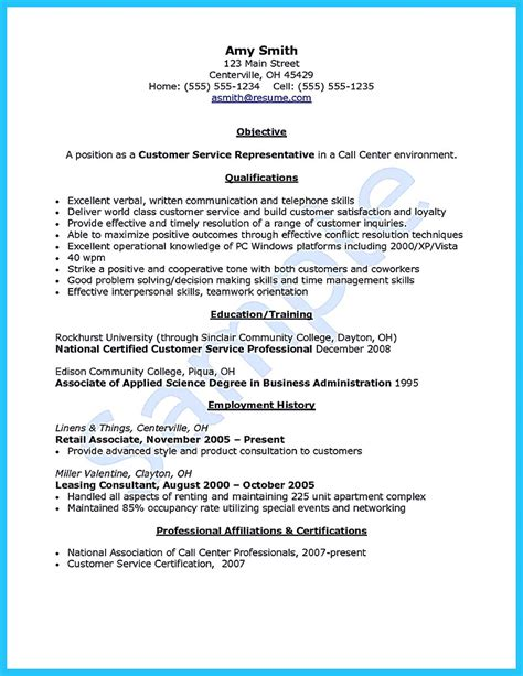 Sle Resume Of Customer Service Representative Objective customer service representative resume sle bilingual