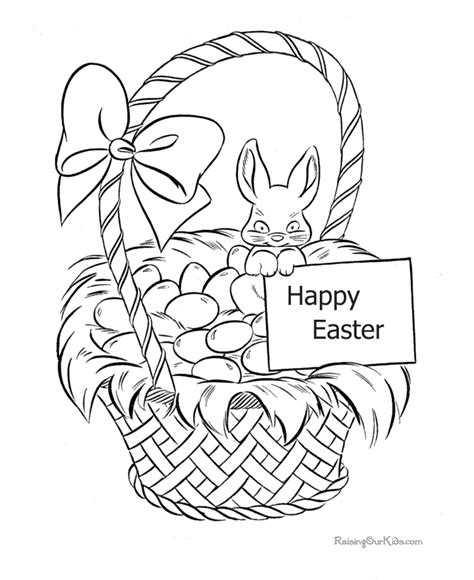 happy easter coloring page of basket 009