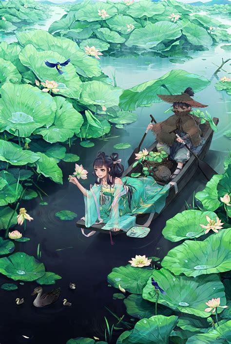 anime couple lotus water girl blue eyes hair long