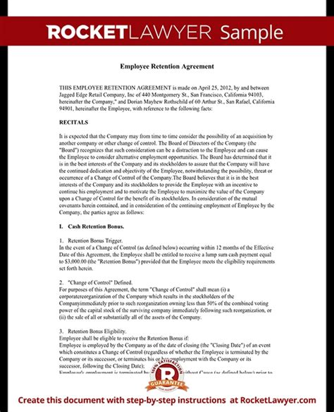 Contract Buyout Letter How To Write A Retention Letter Employee Retention Agreement Template With Sle Allponno