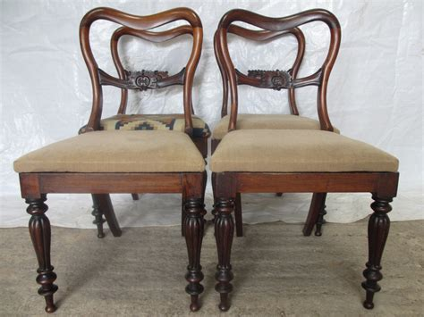 Set Of 4 Victorian Rosewood Balloon Back Dining Chairs Balloon Back Dining Chairs