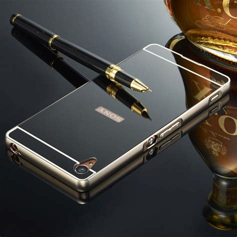 Mirror Sony Xperia Z3 luxury mirror back cover metal aluminum frame for