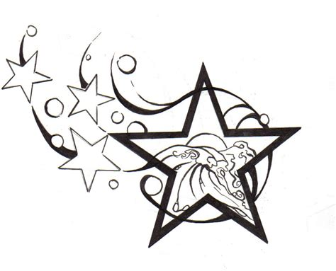 star tribal tattoos pencil and in color