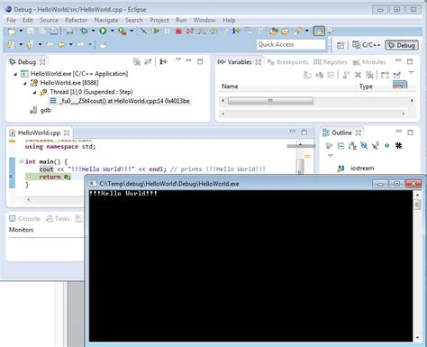 command line pattern eclipse eclipse how to debug a c console application using a