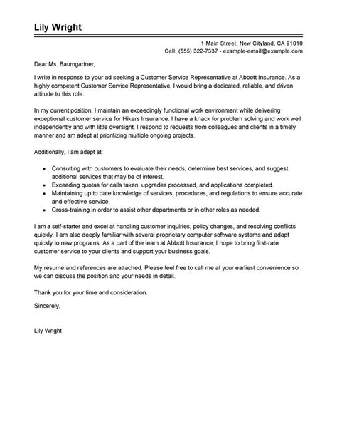 sle cover letter for customer care representative