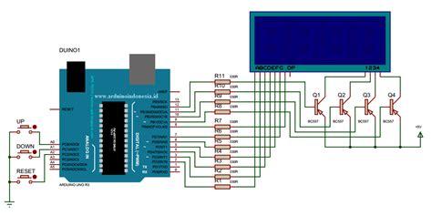 tutorial arduino uno bahasa indonesia counter up dan counter down dengan display 7 segment 4