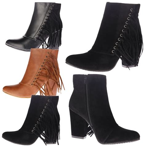 Kode K0559 New Arival High Heel Angkle Boot Swarovski Import womens ankle boots fringe tassel block mid high