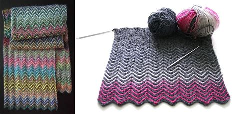 zickzack pattern colorful knitted zickzack scarf free knitting pattern