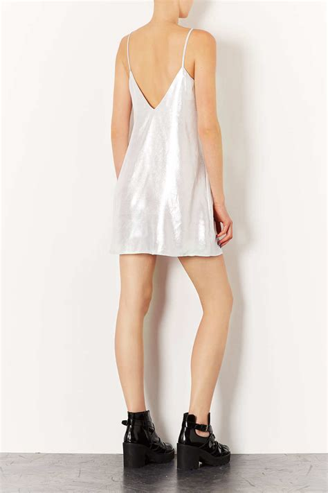 swing slip dress topshop metallic swing slip dress in metallic lyst