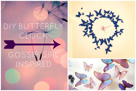 Home Decorating Ideas Cheap Easy diy wall decor butterfly clock gossip girl inspired