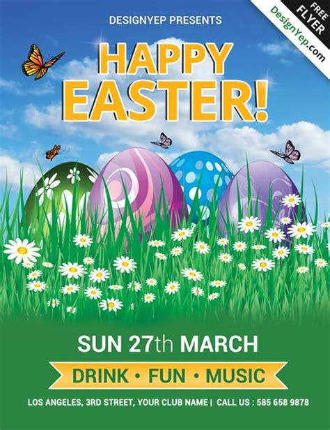easter flyer template happy easter free psd flyer template